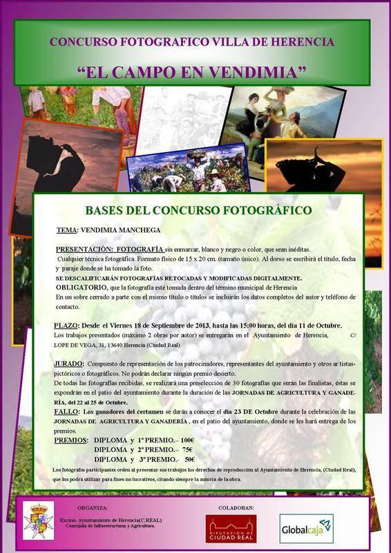 CARTEL CONCURSO FOTOGRAFIA EL CAMPO EN VENDIMIA en HERENCIA - Convocado un concurso fotográfico sobre la vendimia