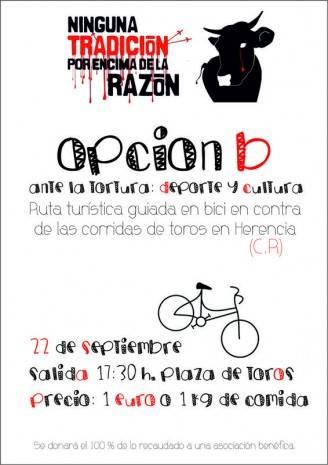 Cartel opci%C3%B3n b ruta tur%C3%ADstica en bicicleta 328x465 - Ruta en bicicleta benéfico-cultural como opción b a la corrida de rejones