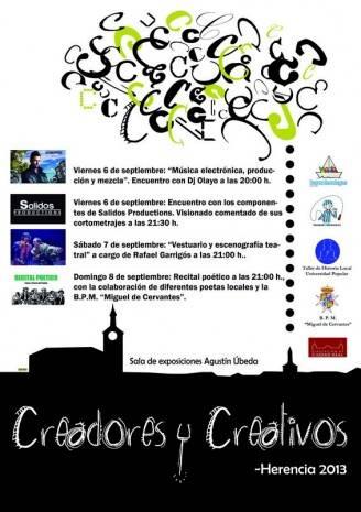 Herencia Creadores y Creativos Actividades 6 8 septiembre1 328x465 - Música, cine, teatro y poesía durante el próximo fin de semana en Herencia