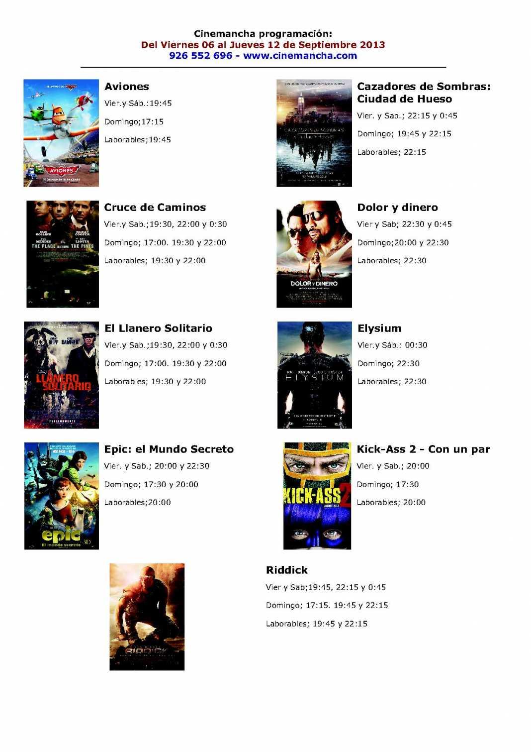 Programación Cinemancha del 6 al 12 de septiembre 1