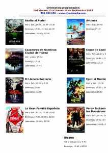 cartelera de multicines cinemancha del 13  al 19 de septiembre
