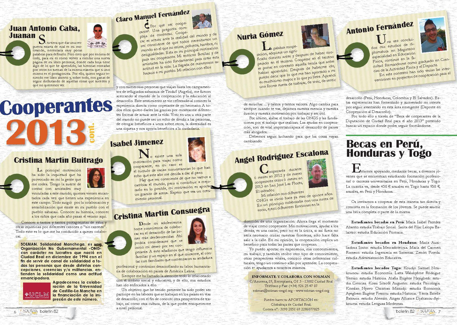 Cooperantes 2013 - Cuatro herencianos en el boletín de Solman