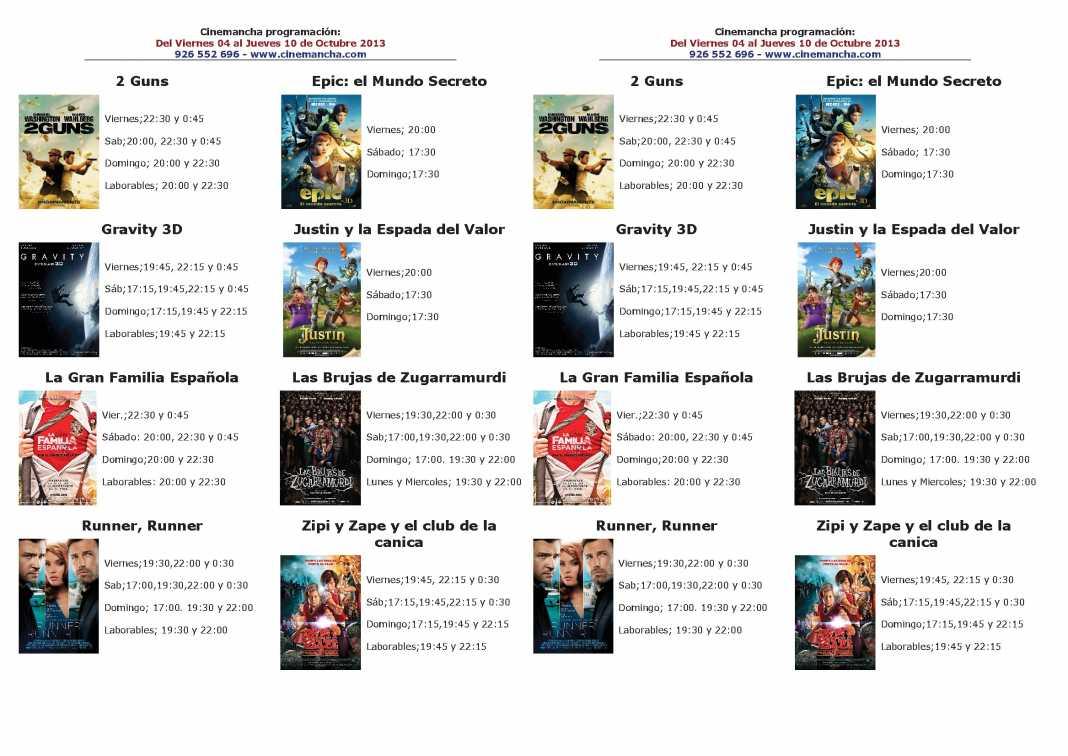 cartelera de cinemancha del 04 al 10 de octubre 1068x756 - Programación Cinemancha del 4 de octubre al 10 de octubre de 2013