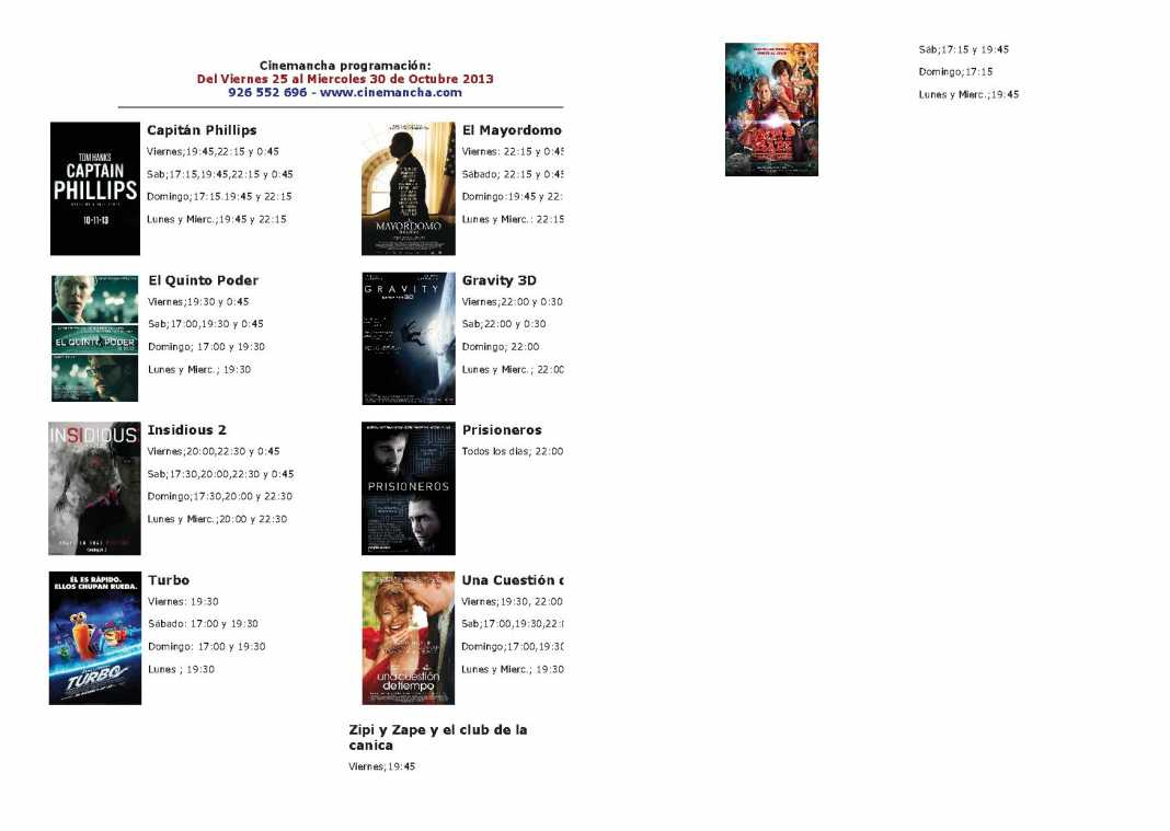 Programación Cinemancha del viernes 25 al miércoles 30 de octubre 1