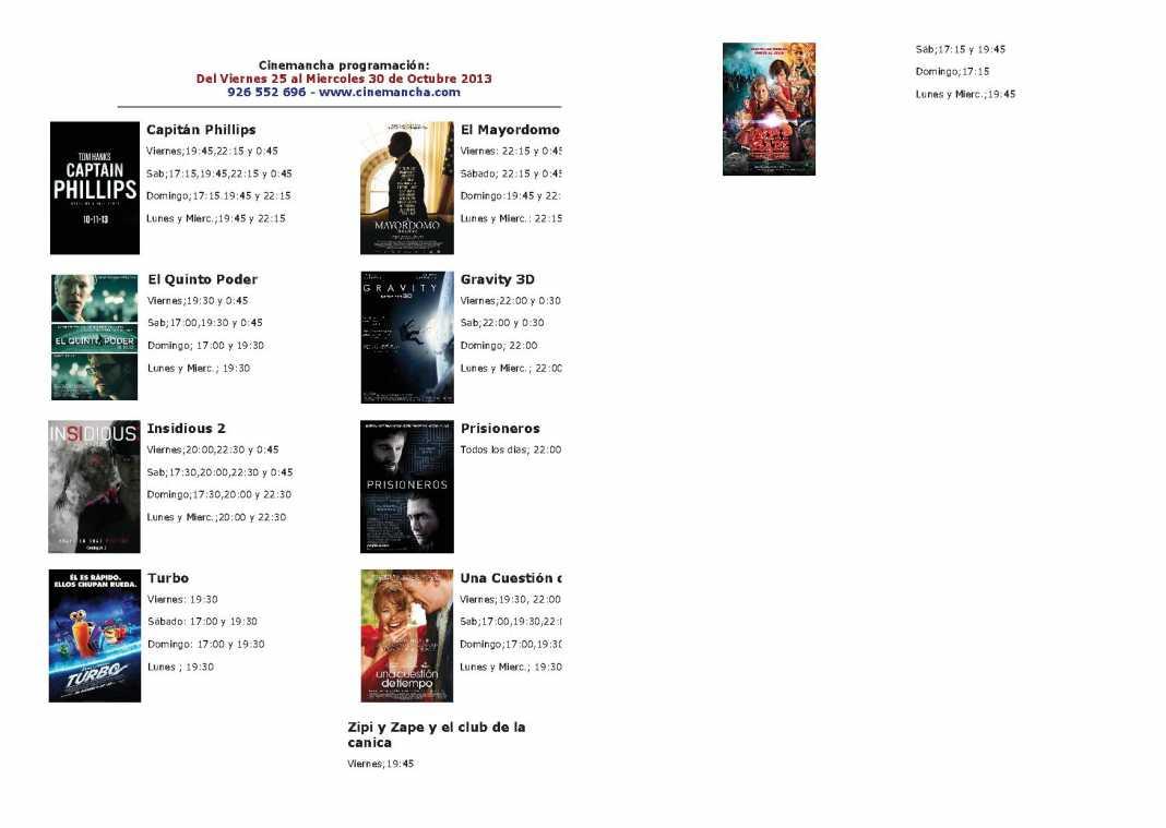 certelera cinemancha del 25 al 30 de Octubre copia 1068x759 - Programación Cinemancha del viernes 25 al miércoles 30 de octubre