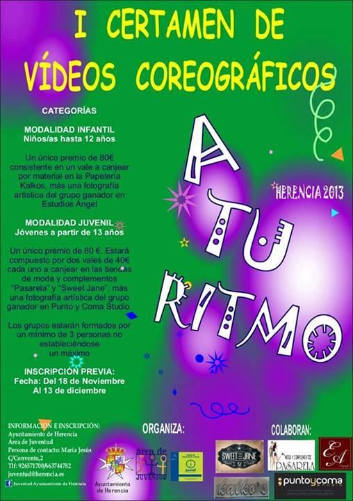 """I Certamen de Videos coreográficos de Herencia - Juventud convoca el I Concurso de vídeos coreográficos """"A tu ritmo"""""""