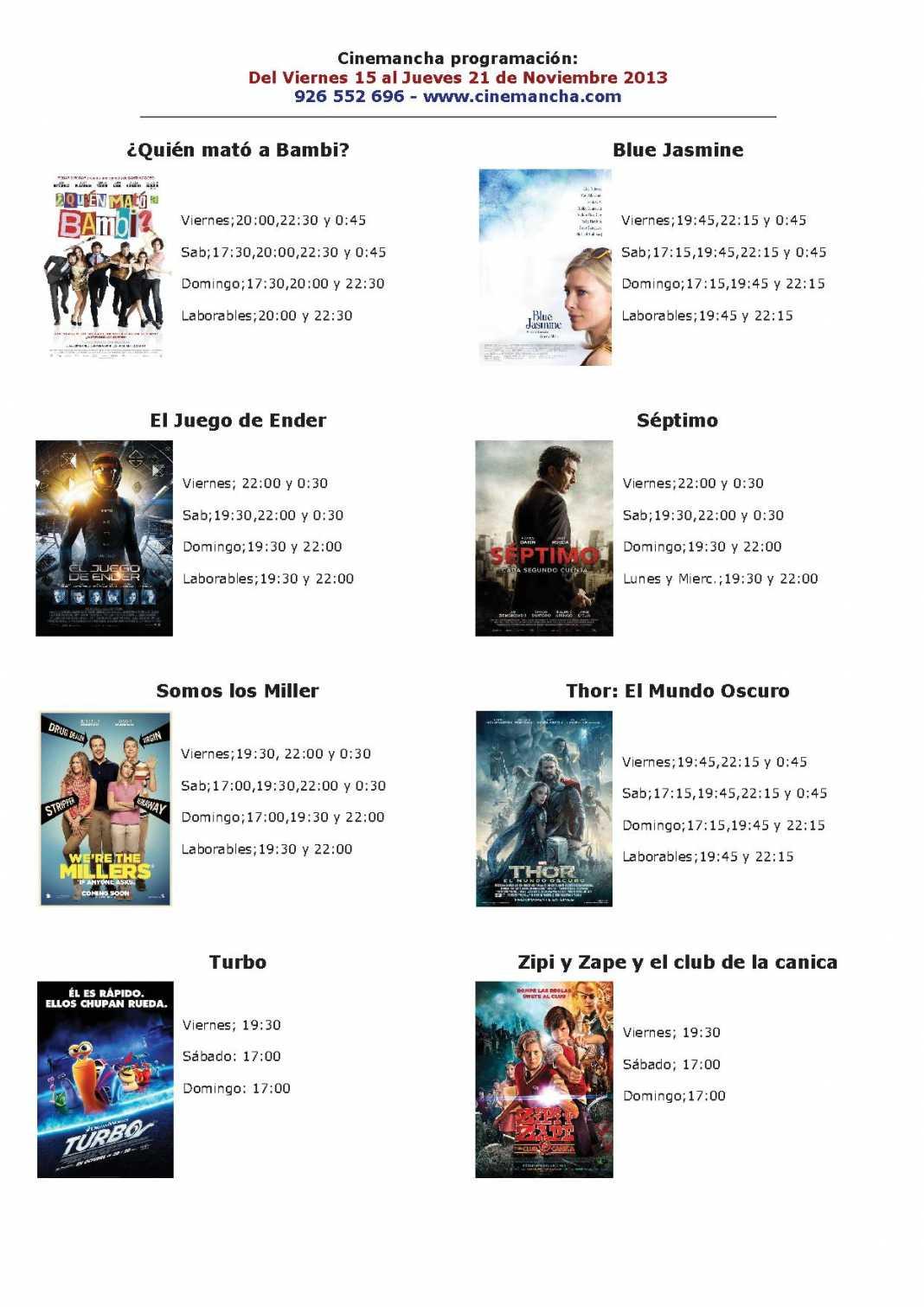 Programación Cinemancha del15 al 21 de noviembre 1