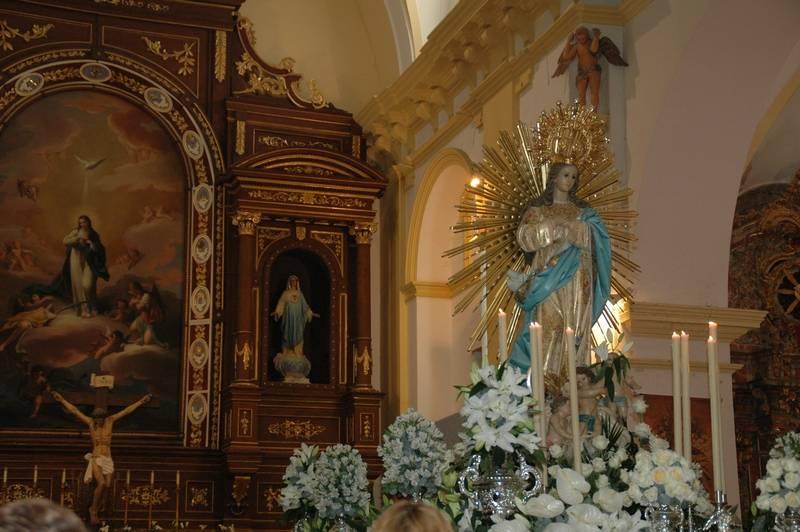 Imagen de la Inmaculada Concepción de Herencia - La Patrona tinta de azul y plata el año jubilar