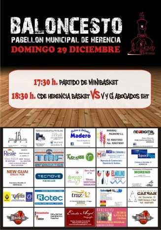 cartel baloncesto y minibasket Herencia 327x465 - El baloncesto no descansa por Navidad en Herencia