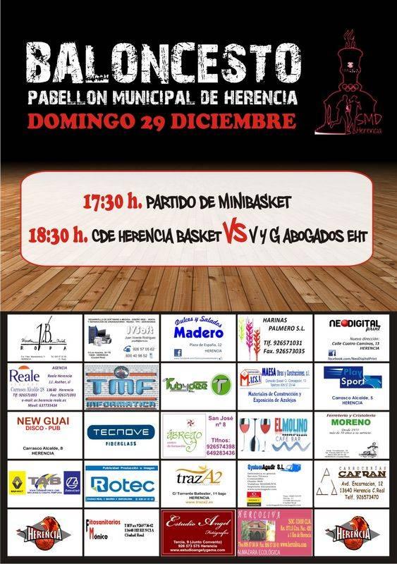 Cartel encuentros de baloncesto en Herencia. Navidades 2013