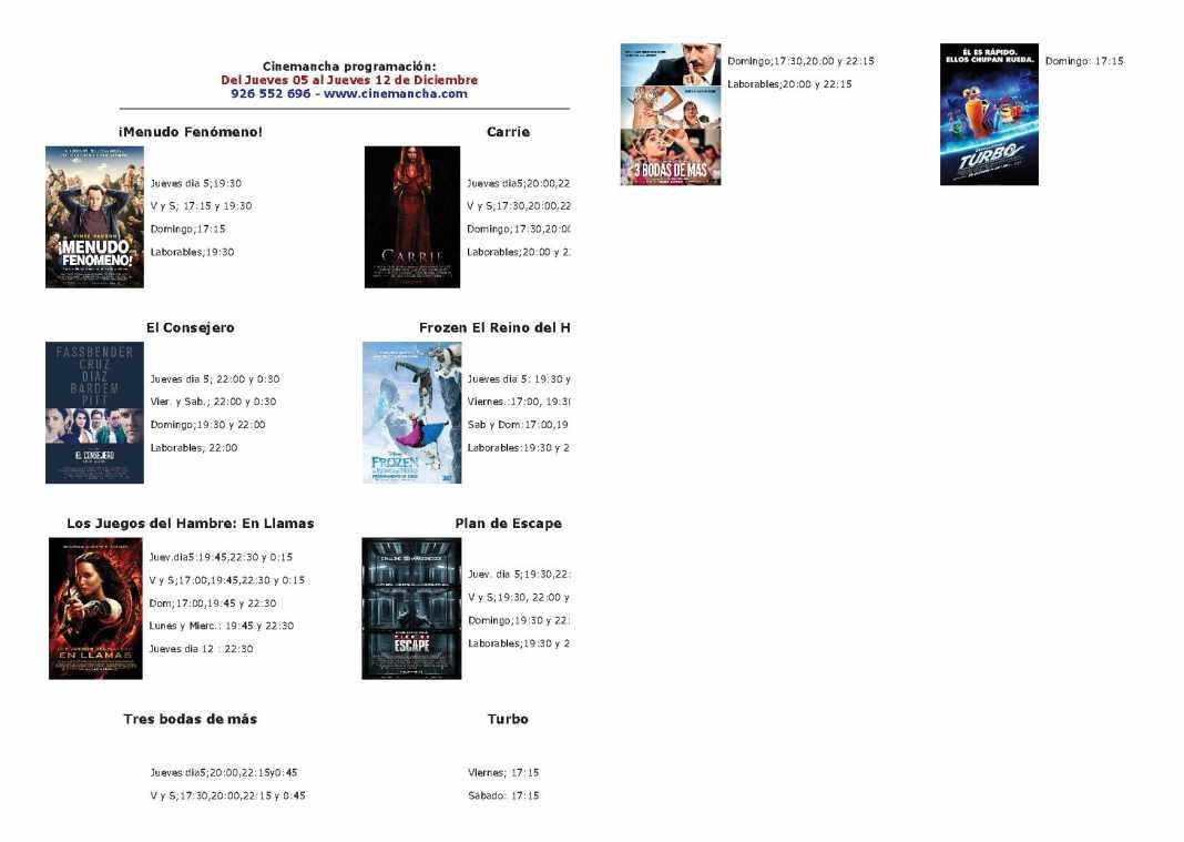 Cartelera Cinemancha del jueves 5 al jueves 12 de diciembre 1