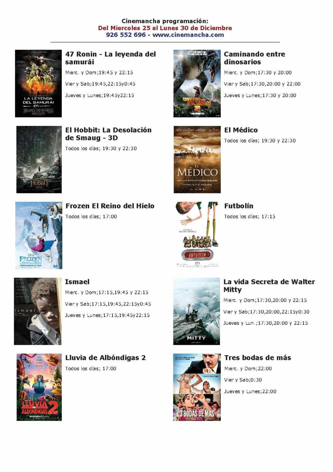 cartelera de cinemancha del 25 al 30 de diciembre 1068x1511 - Programación Cinemancha del 25 al 30 de diciembre