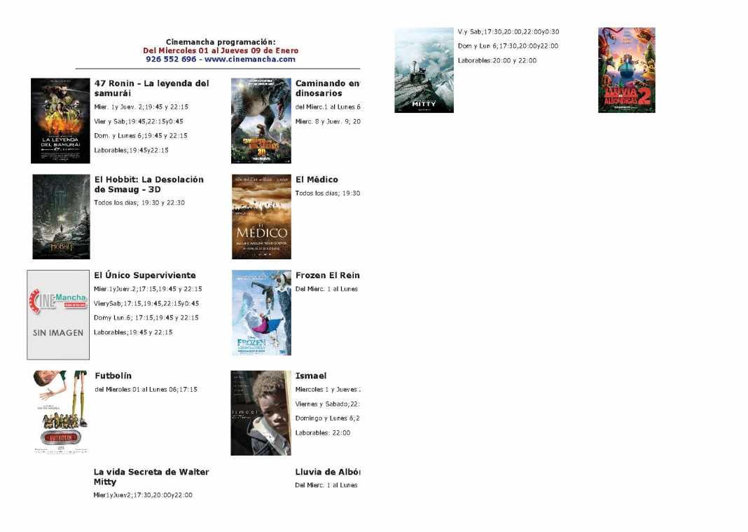Programación Cinemancha del miércoles 1 a jueves 9 de enero 1