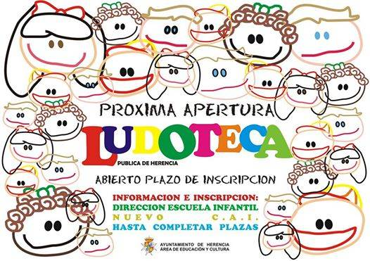 Cartel apertura plazo de inscripción ludoteca - Abierto el plazo de inscripción para la nueva ludoteca municipal