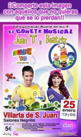 """Concierto Juan D y Ciudad Arco Iris en Villarta de San Juan 276x465 - Juan """"D"""", Beatriz y su 'Cohete Musical' actuarán en Villarta de San Juan"""
