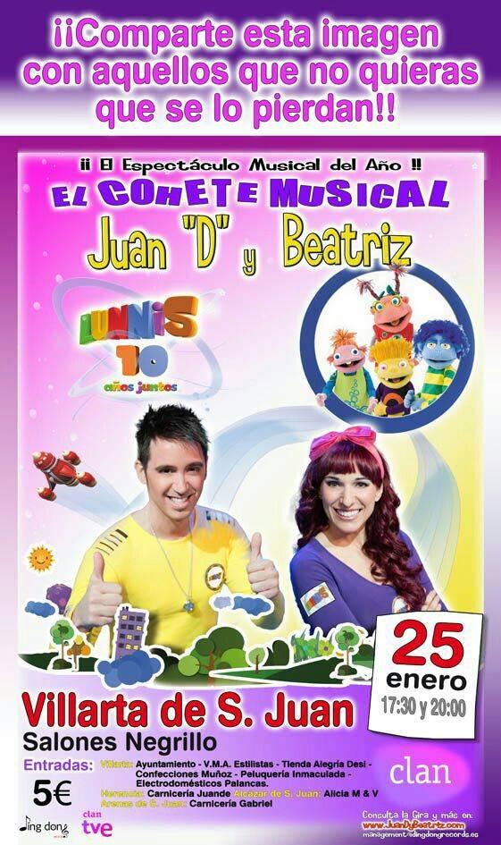 """Concierto Juan D y Ciudad Arco Iris en Villarta de San Juan - Juan """"D"""", Beatriz y su 'Cohete Musical' actuarán en Villarta de San Juan"""