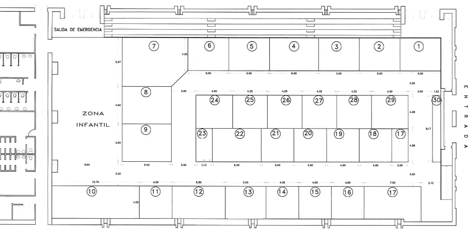 Distribuci%C3%B3n del pabell%C3%B3n en la segunda feria del comercio - A concurso el diseño y montaje de la decoración de la V Feria del Comercio de Herencia