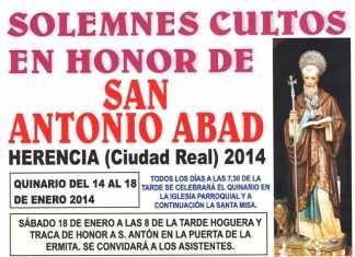 Solmnes cultos en honor a san Antón - Herencia 2014
