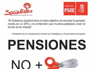 Cartel Acto público sobre pensiones organizado por la asrupación socialista de Herencia