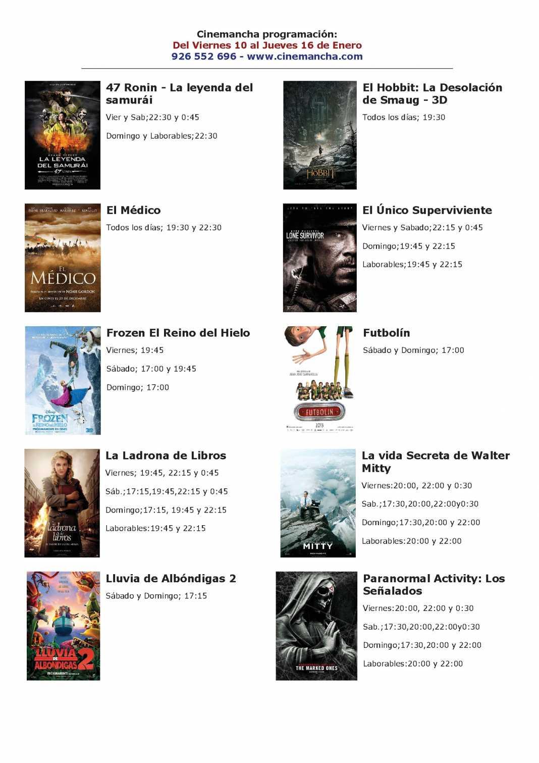 cartelera de muilticines cinemancha del 10 al 16 de enero 1068x1511 - Programación Cinemancha del viernes 10 al jueves 16 de enero