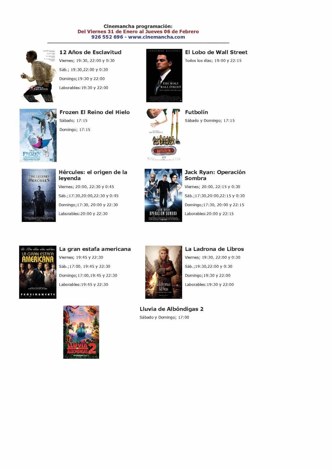 Programación Cinemancha del 31 de enero al jueves 6 de febrero. 1