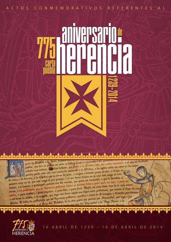herencia cartel 775 aniversario reducido g - El 5 de junio darán comienzo las jornadas de historia de Herencia