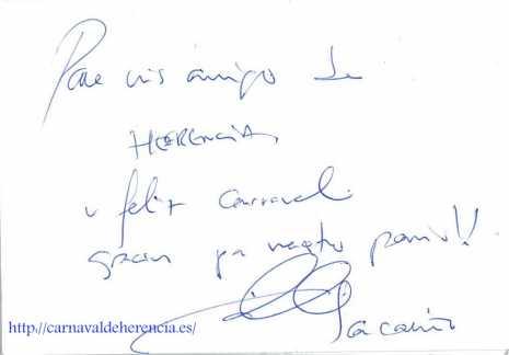 Autógrafo de Iker Casillas al pueblo de Herencia