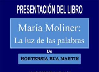 Cartel Presentacion del libro María Moliner la luz de las palabras