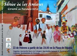 Cartel de sábado de los Ansiosos, obra inacabada de Jesús Madero, artista fallecido y muy querido en Herencia.
