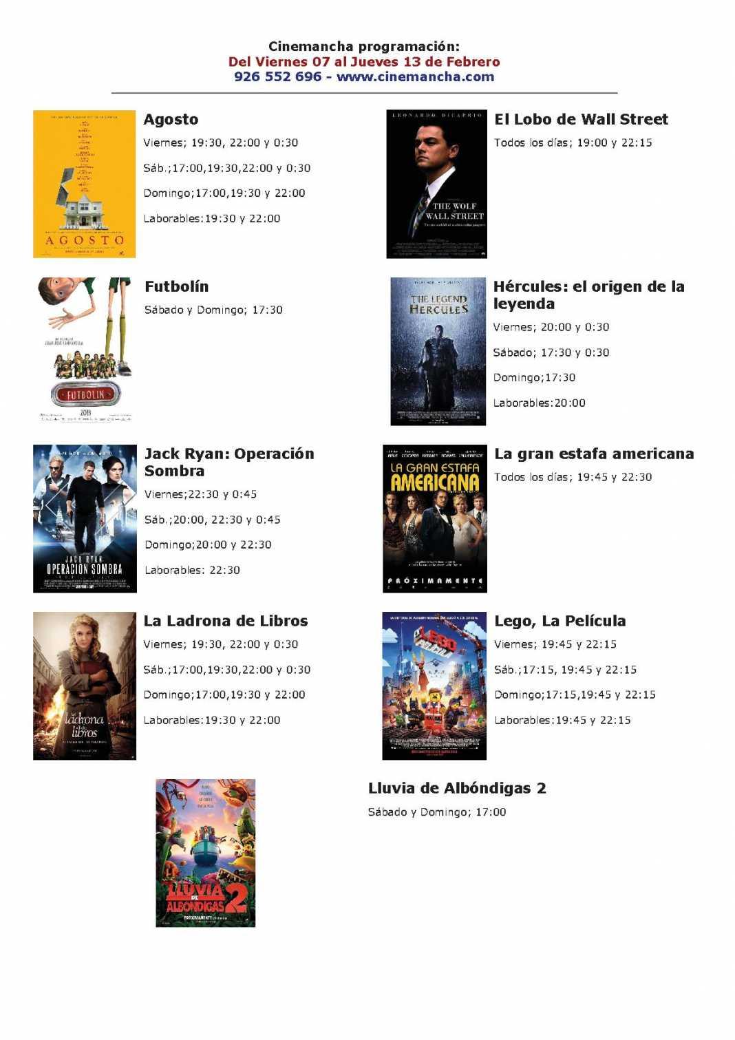 Programación Cinemancha del 7 al jueves 13 de febrero. 1