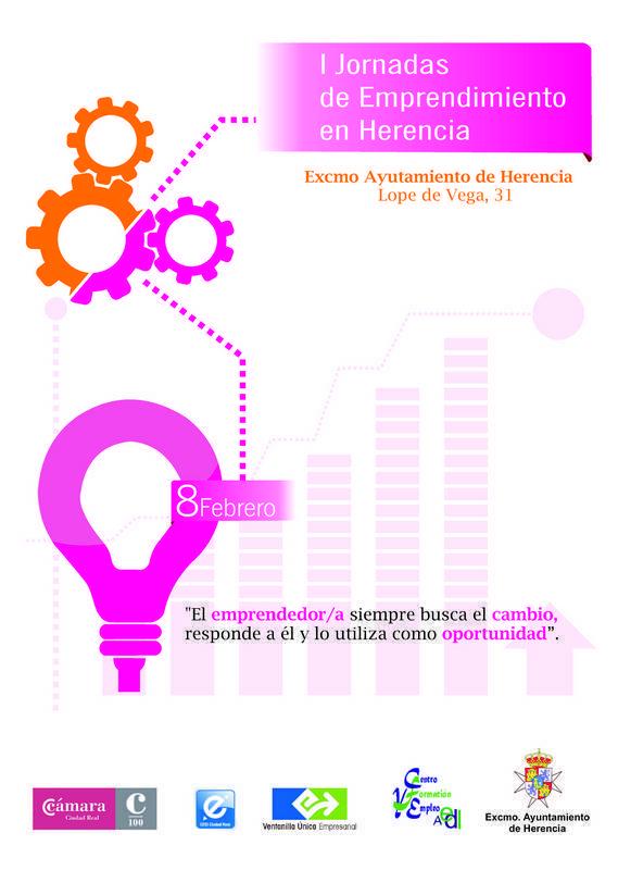 herencia cartel jornadas emprendimiento febrero 2014 - Más de 60 empresarios de Herencia participarán en la I Jornada de Emprendimiento