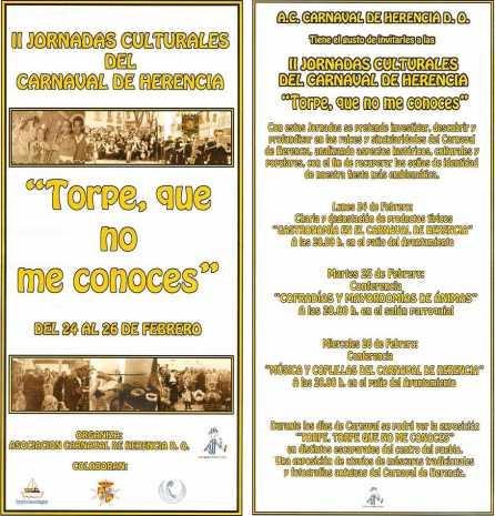 """Díptico de las Segundas Jornadas Culturales """"Torpe, que no me conoces"""" del Carnaval de Herencia"""