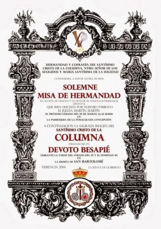 """Cartel besapie Cristo de la Columna de Herencia 328x465 - """"El Santo"""" celebra su acto de hermandad previo a la Semana Santa"""