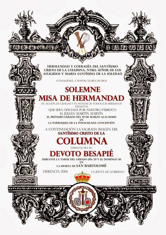 Cartel besapie Cristo de la Columna de Herencia