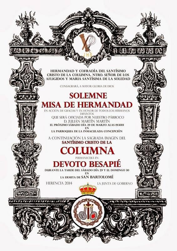 """Cartel besapie Cristo de la Columna de Herencia - """"El Santo"""" celebra su acto de hermandad previo a la Semana Santa"""