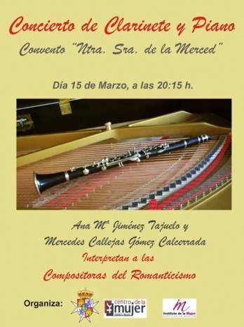 Cartel concierto de clarinete y piano con motivo del día de la mujer