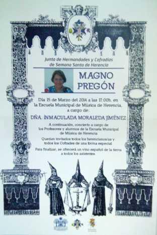 Cartel preg%C3%B3n de semana santa 2014 de Herencia 312x465 - La historiadora Inmaculada Moraleda dará el pregón de Semana Santa