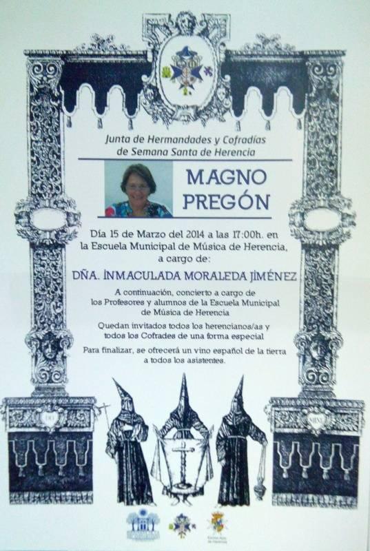Cartel pregón de semana santa 2014 de Herencia - La historiadora Inmaculada Moraleda dará el pregón de Semana Santa