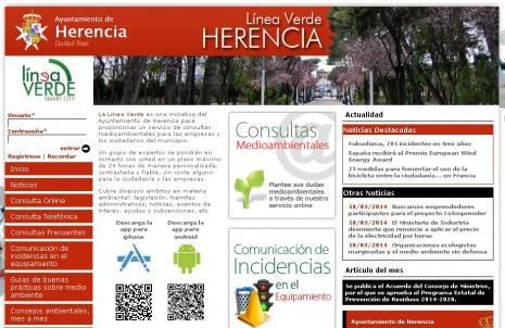 Linea Verde de Herencia 465x302 - Nuevo servicio de consultas medioambientales y comunicación de incidencias sobre el equipamiento urbano