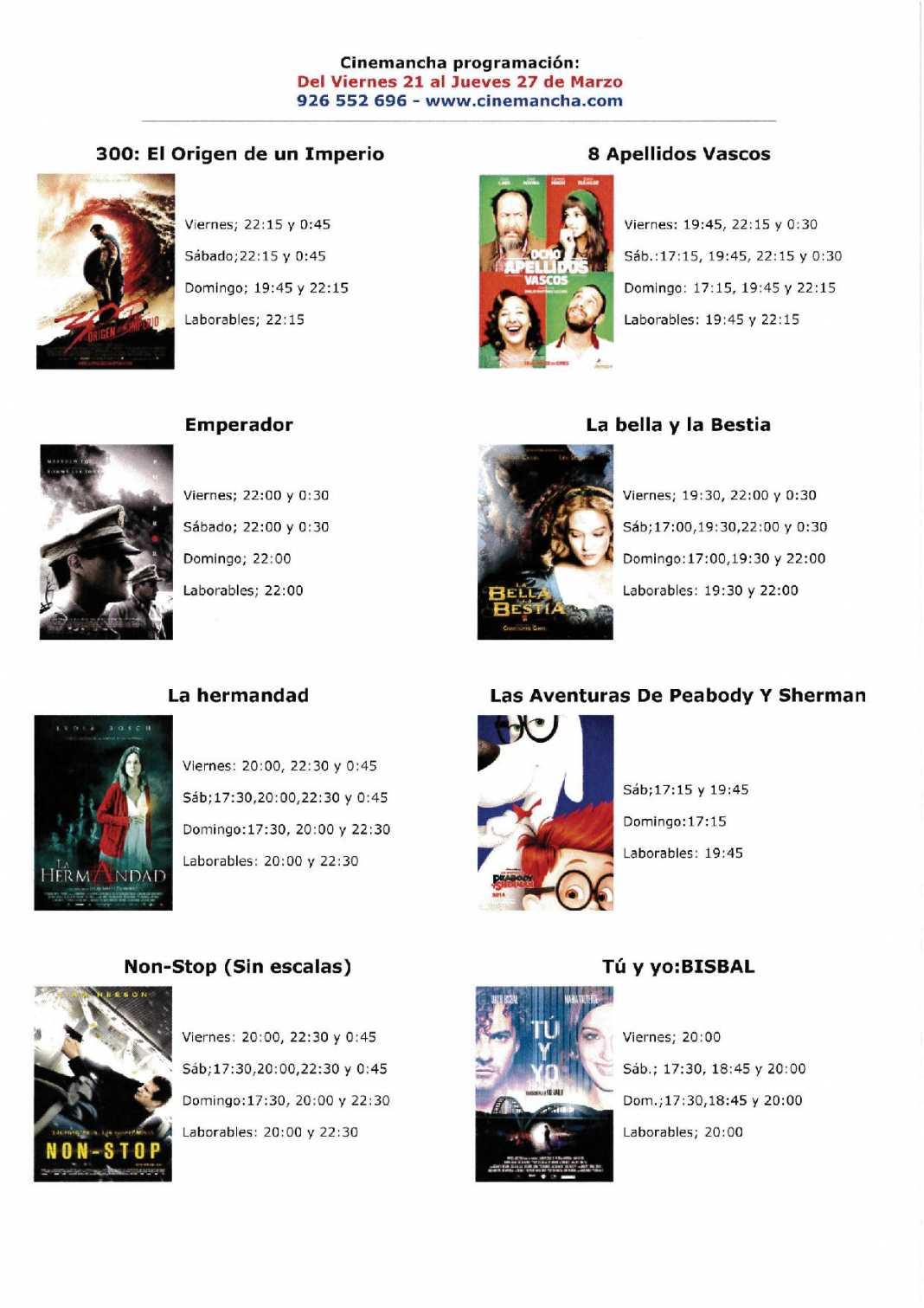 Programación Cinemancha del 21 al 27 de marzo 1