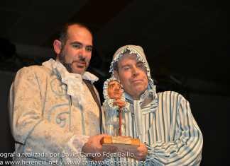 Tomás Guash vestido de Perlé tras su pregón del Carnaval de Herencia 2014