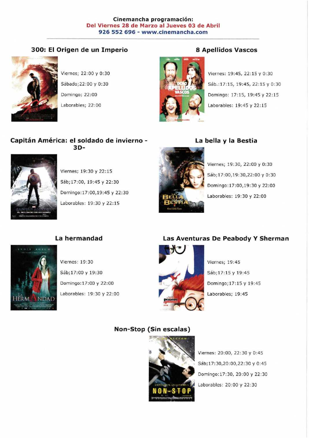 cartelera 1068x1511 - Programación Cinemancha del viernes 28 de marzo al jueves 3 de abril