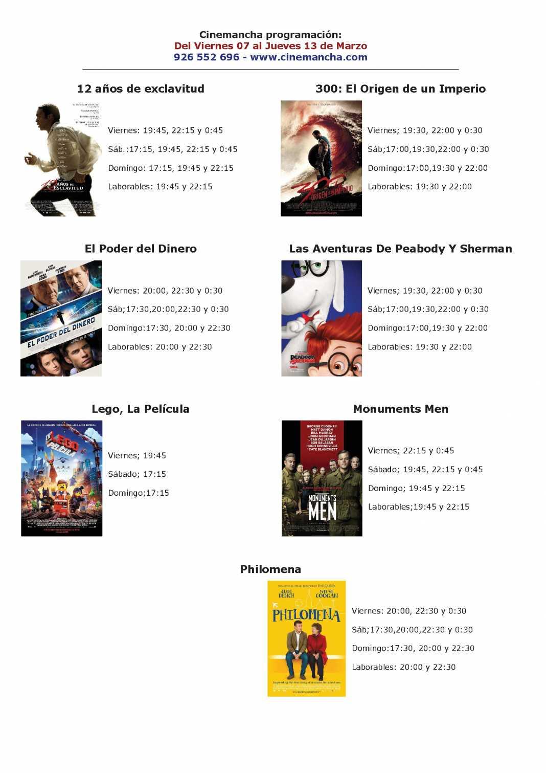 Programación Cinemancha del 7 al 13 de Marzo 1