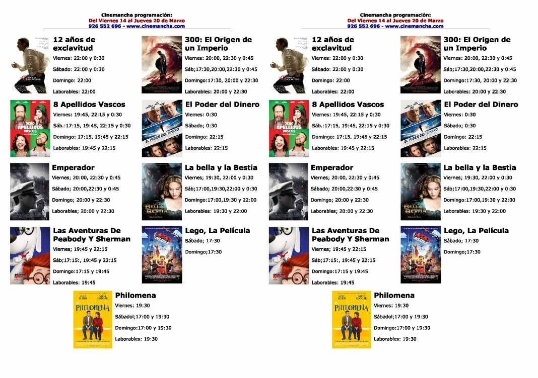 Programación Cinemancha del 14 al 20 de marzo 1