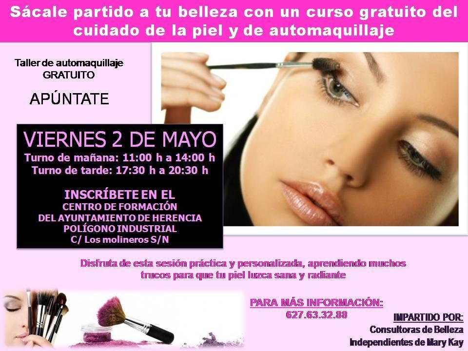 Cartel Taller de maquillaje en Herencia - Curso gratuito para el cuidado de la piel y el automaquillaje
