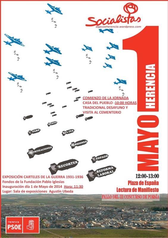 Cartel actividades 1º de mayo en Herencia a - La agrupación socialista festejará el Día Internacional del Trabajo con varias actividades