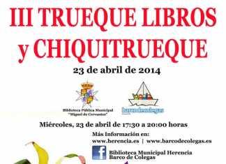 Cartel intercambio de libros en Herencia