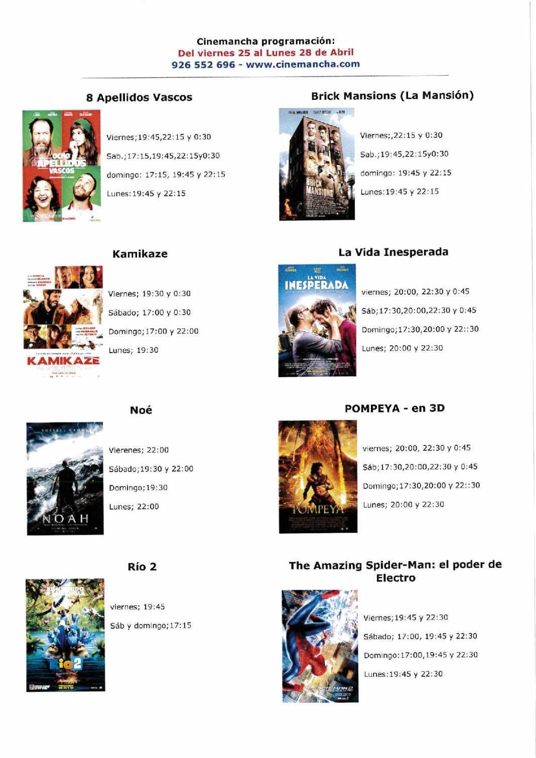 Programación Cinemancha del viernes 25 al lunes 28 de abril 1