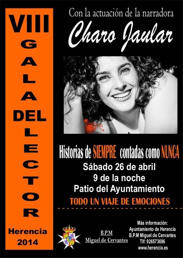 cartel cuentacuentos charo jaular - La 23ª Semana de la Biblioteca de Herencia tendrá el 775 Aniversario de la Carta Puebla como principal temática