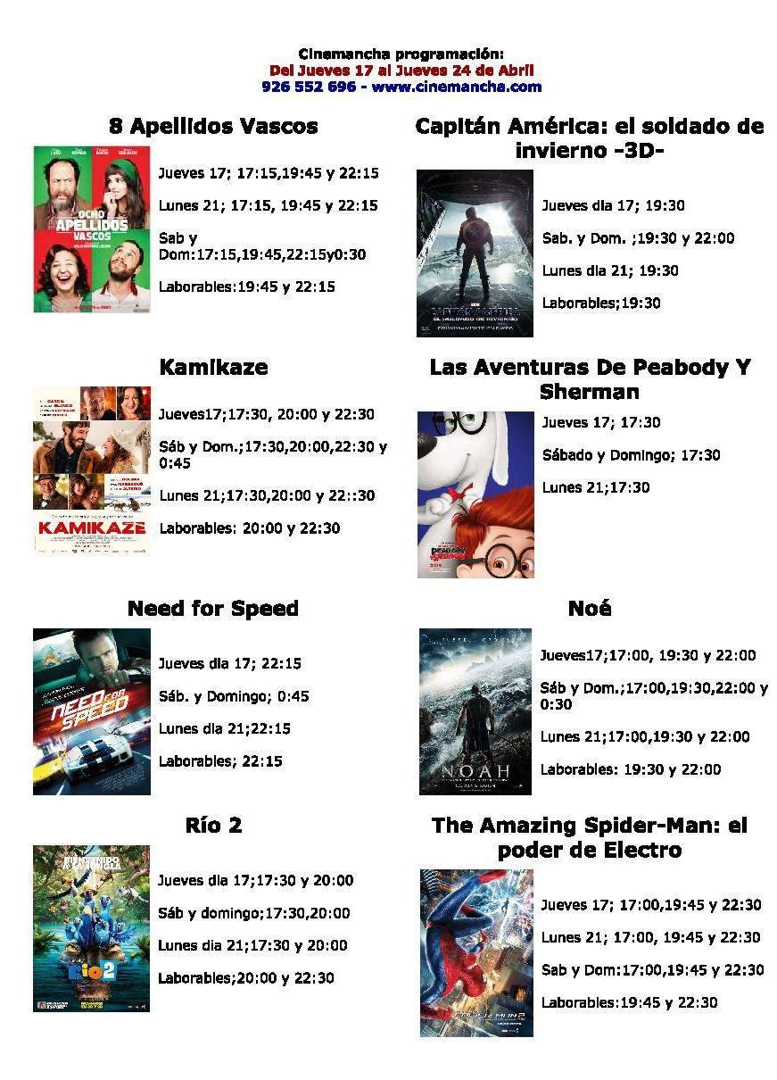 cartelera de cinemananch... jueves 24 de abril - Programación Cinemancha del jueves 17 al jueves 24 de abril